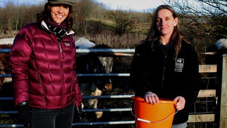 Countryfile's Julia Bradbury and Sophie Leadsom with the Brockholes cattle