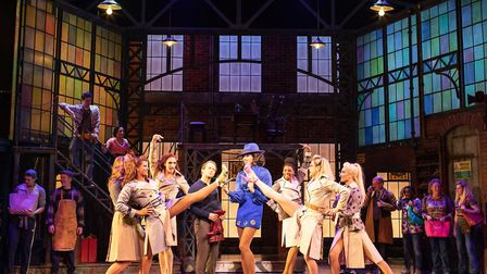 Callum, centre stage, with the cast of Kinky Boots (Picture: Helen Maybanks)