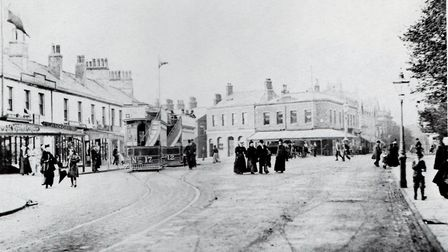 Lytham town centre in the late 1800s with Stringers in the background