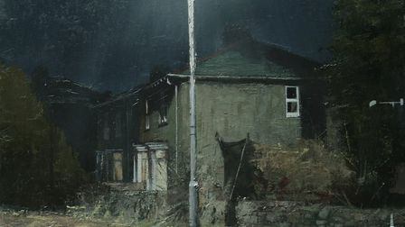 Chris Rigby's oil panting, 'Trampoiline No 1'