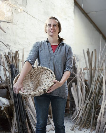 Lorna with a swill basket