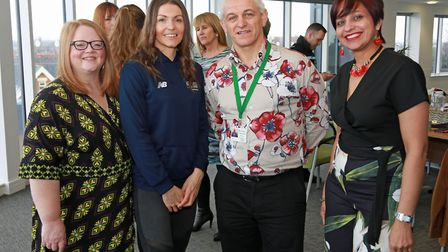 Sue Thompson, events manager Vicarage Park Community Centre, Kelly Massey, Olympic bronze medallis