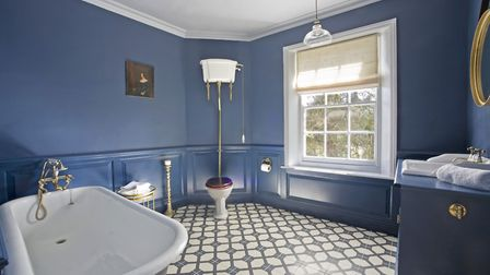 The bathroom wall colour is by Farrow & Ball, the Suite by Stiffkey Bathrooms, 01603 627850 (photo:
