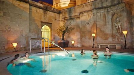 Thermae Bath Spa's Cross Bath by candlelight