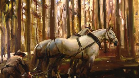A grey team and forest of Dreux, 1918, by Sir Alfred Munnings