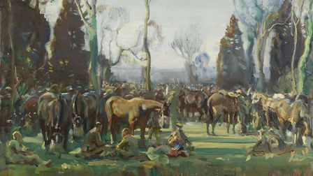 Halt on the march by a stream ay Nesle, 1918, by Sir Alfred Munnings