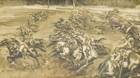 Painted study for cavalry charge led by Lieutenant GM Flowerdew VC, 1918, by Sir Alfred Munnings