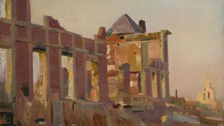 Ruined Chateau at Ennermain near Athies by Sir Alfred Munnings