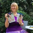 Jane and one of her novels 'Let's Read Our Feet'