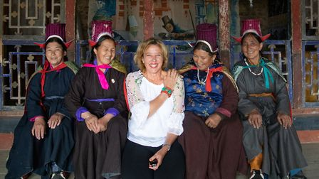Inger visiting the Ladakh women's project in northern India (Picture: Michele Zousmer)