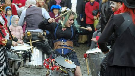The Deetbeats inject tons of energy as they entertain at the Ulverston Dickensian Festival.