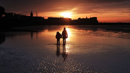 Twilight on the beach at Morecambe by Nigel Hunter