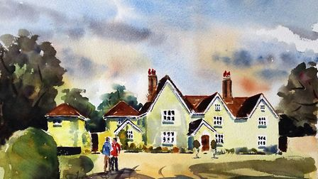 MATCHING HALL The window frames and white clouds in this watercolour are unpainted white paper. I t
