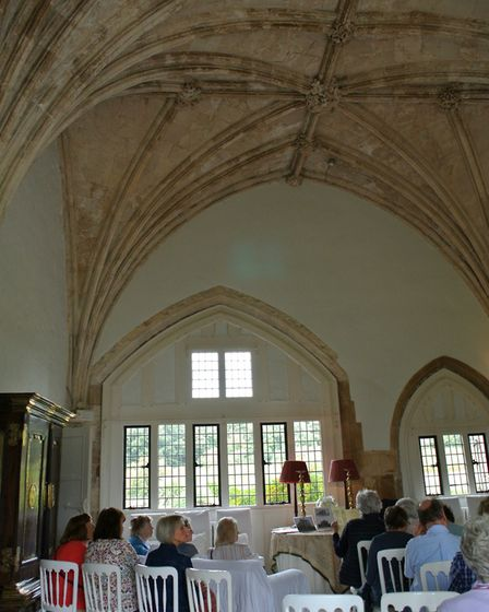 The vaulted ceiling of the gatehouse hall