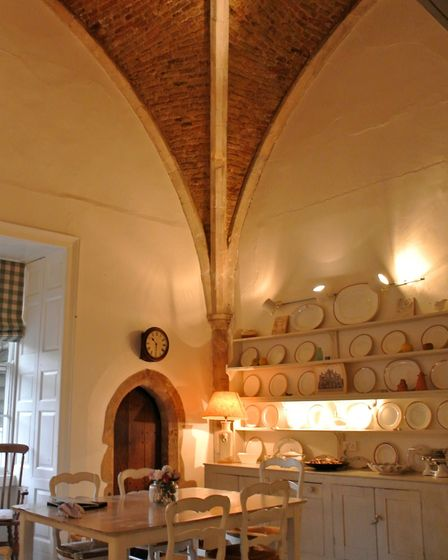 The beautiful, mellow brick vaulting in the kitchen
