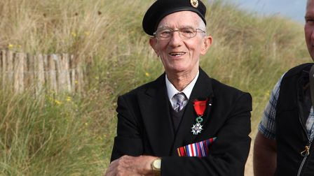 Jim Healy on Juno Beach: the Normandy beach to which he ferried Canadian troops ashore on D-Day, 6 J