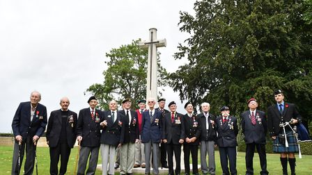 Jim Healy with D-Day veterans on the Royal British Legion tour to Normandy for D-Day survivors, 2017