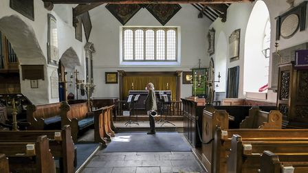 Inside the ancient St Oswalds Church in Grasmere