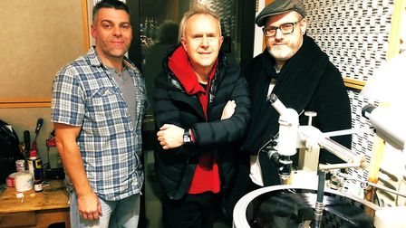Howard Jones at Loud Mastering in Taunton with Jason Mitchell from Loud and co-producer on the Trans