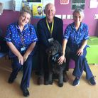 John and Otis with team members at the Furness General children's ward