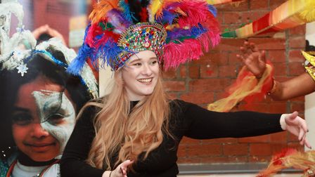 Sophie Barrow in party mood during Preston Carnival preparations at Blackburn Youth Zone