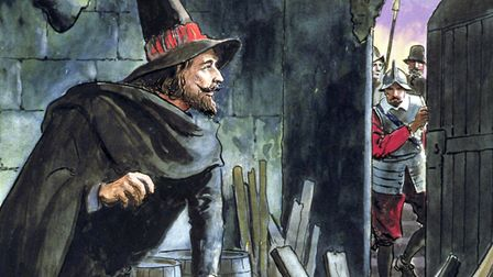 Guy Fawkes, caught in the act of preparing the Gunpowder Plot at the House of Parliament, 1605. Pict