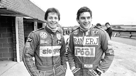 Ayrton Senna pictured with Martin Brundle at Snetterton in 1983. The pair went on to become Formula