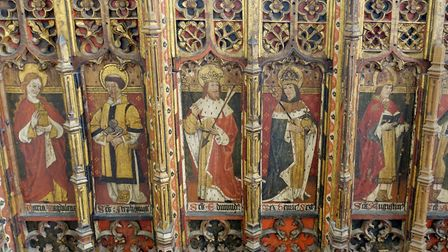 Saints alive: The 15th century screen at Ludham St Catherine, one of Norfolk's best (photo: Marion W