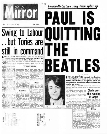 The Daily Mirror reports The Beatles' break-up, 1970. Picture: Getty Images