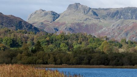 Looking across Elter Water to the Langdale Pikes