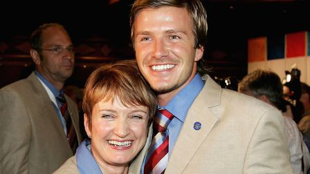 David Beckham and Olympic minister Tessa Jowell celebrate after London was awarded the 2012 Olympic