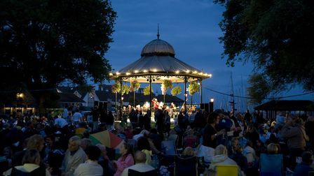 The bandstand lit up after dark in 2008