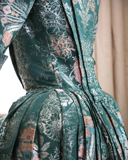 An original silk dress from 1735-40 that forms part of the Blandford Fashion Museum collection.