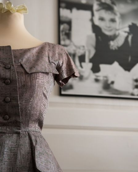 Detail of an early 1950's dress inspired by the Dior 'New Look'
