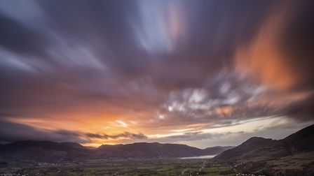 A view of the sunset from Latrigg with Derwentwater to the left and Bassenthwaite to the right (c) D