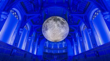 Luke Jerram's Museum of the Moon in the Great Hall of the Wills Memorial Building at the University