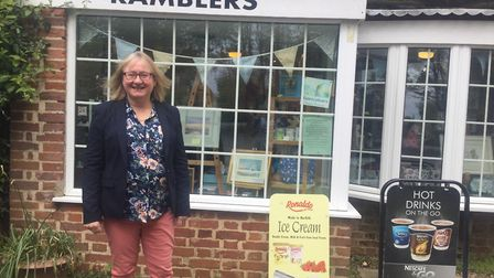 Liz Duffield outside Ramblers Gallery and Giftshop, Thurne