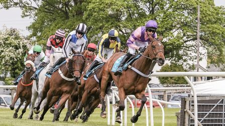 Thundering down Woodside straight at Cartmel Races