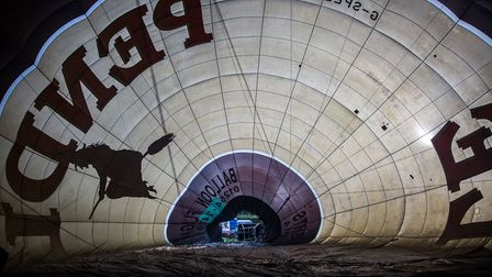 Inside the Pendle Witch as the balloon is inflated