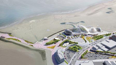 An artist's impression of the giant glass mussel shells on Morecambe seafront. Grimshaw Architects