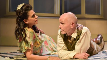 Asha Kingsley (Helena) and Dominic Gateley (Marcus). Photo by Robert Day.