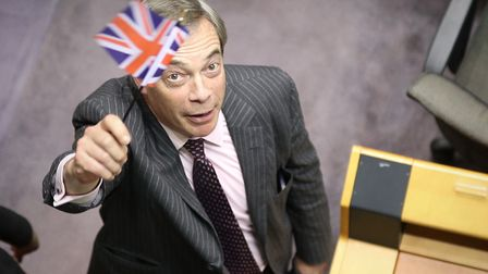 Nigel Farage in the parliament chamber at the European Parliament in Brussels.