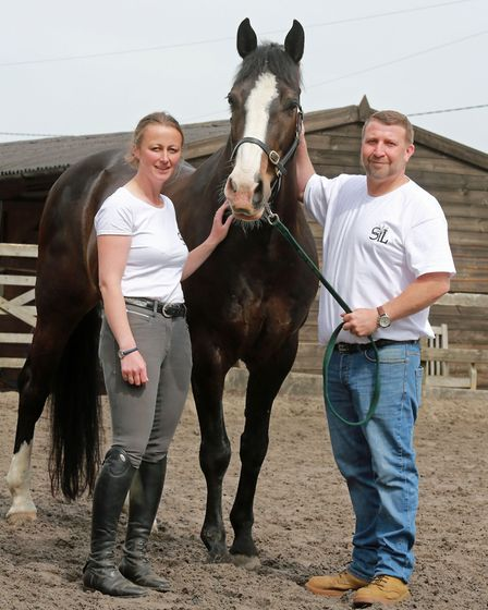 Carrie Byrom with Mike Horrocks with Teddy at Parbold Equestrian Centre