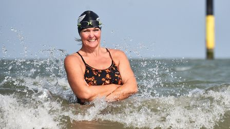 Tracy Clark during a practice session at Sea Palling beach (photo: Antony Kelly)