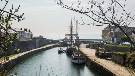 Masts of sailing ships in Charlestown Harbour