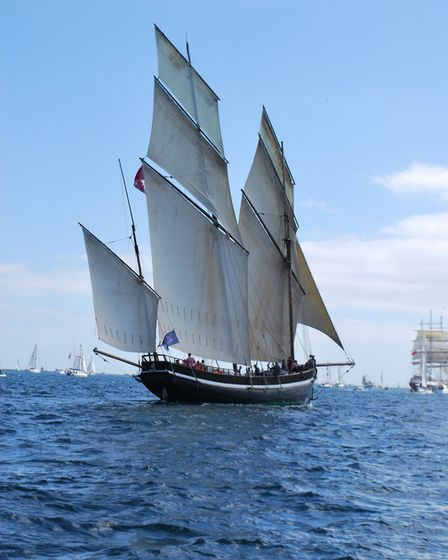 A parade of sails featuring The Grayhound, image taken by Becky Treneer