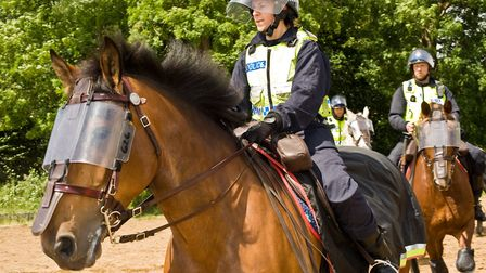Police horses prepare to approach the rioters