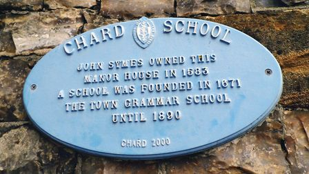 The plaque dedicated to Chard School