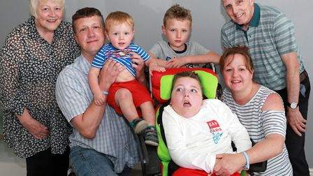 Joseph who suffers with a genetic illness called NKH with his family; Dad, Paul, Mum, Emma, brothers