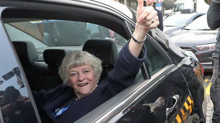Ann Widdecombe, Member of the European Parliament (MEP) for South West England, reacts as she leaves